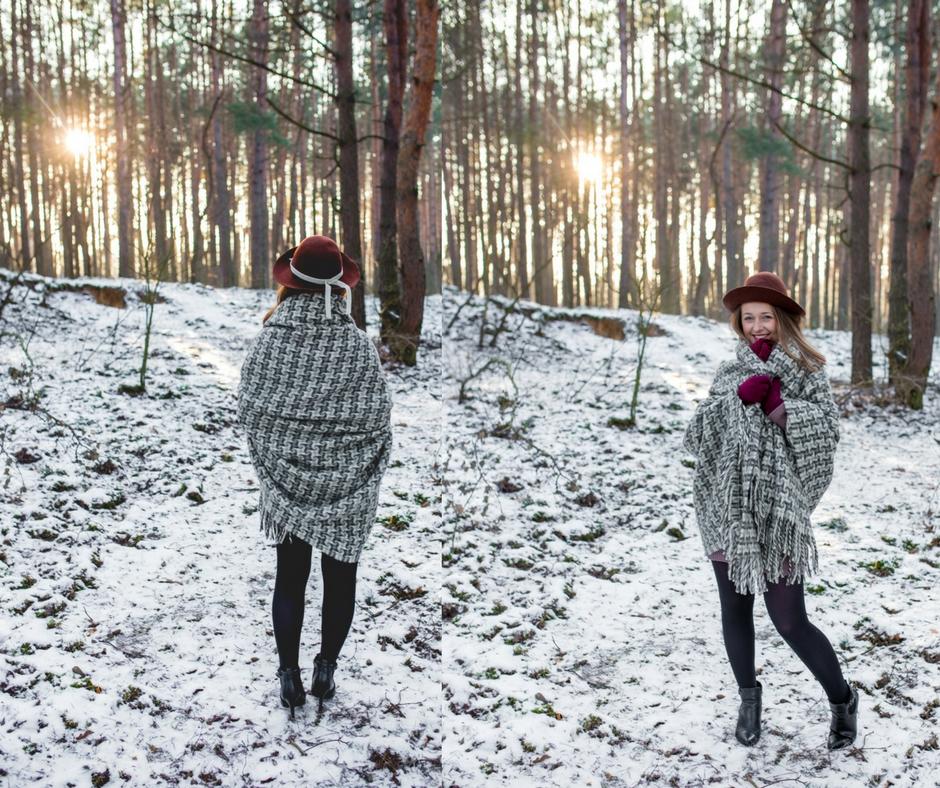 sesja w lesie zimą