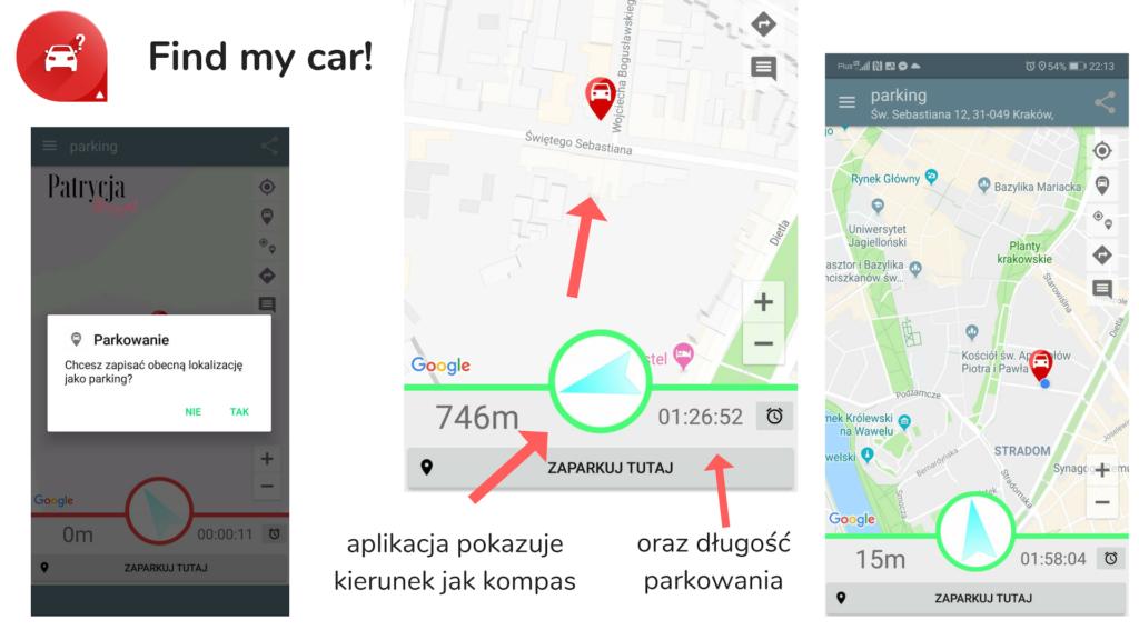 find my car, jak nie zgubić auta aplikacja dla kierowcy