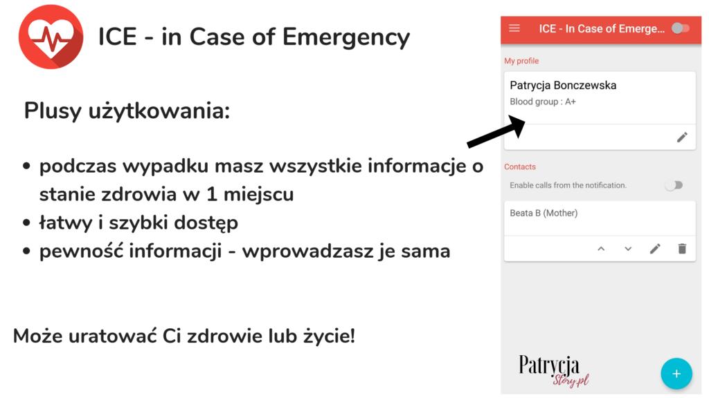 ICE - in Case od Emergency, aplikacja w czasie wypadku,